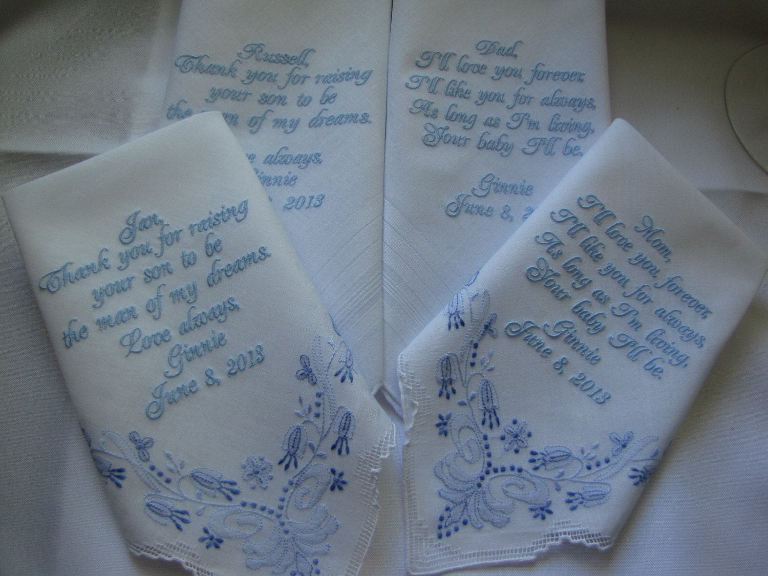 parent wedding gifts four personalized custom wedding handkerchiefs