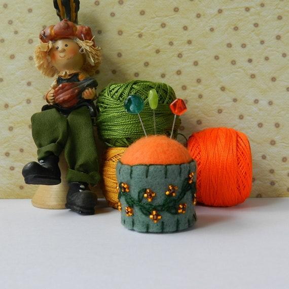 Moss Green and Soft Orange Bottle Cap Pincushion