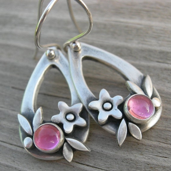 Summer Happiness Pink Tourmaline Sterling Silver Earrings PMC Artisan Jewelry