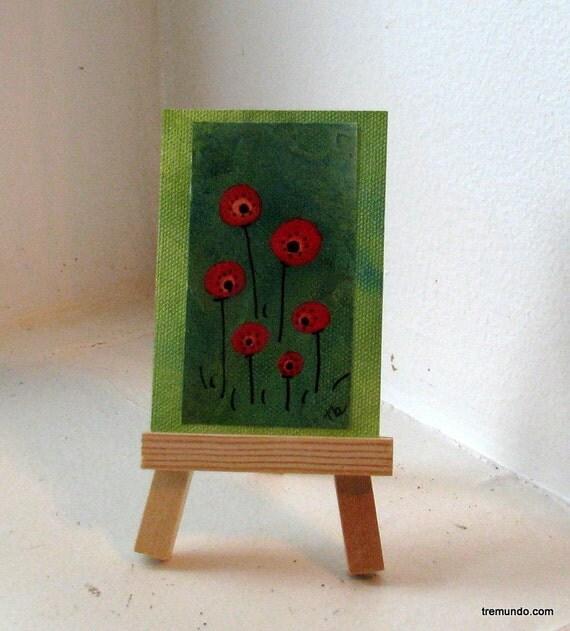 poppy fields- original mixed media ACEO by Tremundo