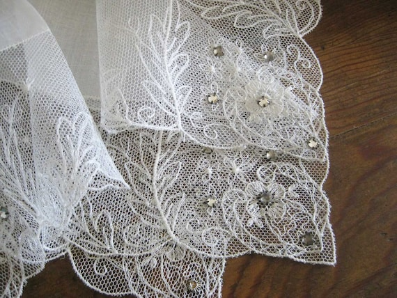 MINT Net Lace Linen White Vintage Hanky - Rhinestones - Formal Bridal Wedding - Bride