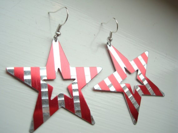 Rockstar Star Music Red and Silver Stripe Star Earrings