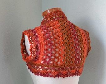 Crochet shrug, bolero, orange, red,  rust, Size S/M,  H803