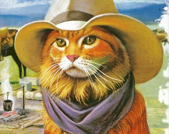 """Cat in a Western Cat on ONE 16 inch Square Fabric Panel to Quilt or Sew. Actual picture is 8.5"""" x 8.5"""" on white background."""