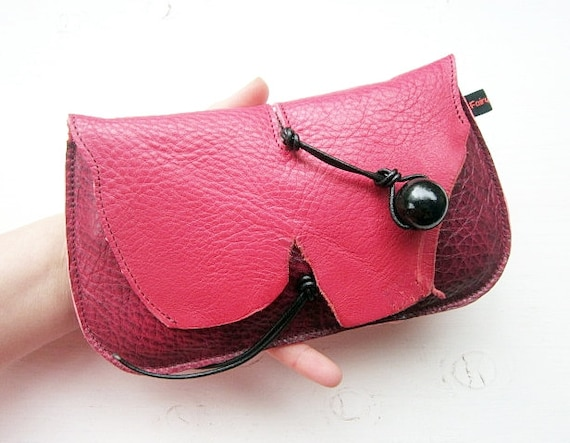 Handmade Leather clutch Purse, Bag, PINK DRAGON antiqued leather DODIE by Fairysteps 2026