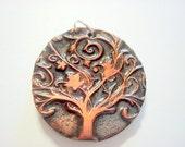 Twirly Tree of Life Bronze and Black Handmade Polymer Clay Pendant