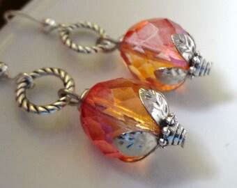 Amber  Earrings, Czech Glass Earrings, Peach Earrings, Glass Dangle Earrings, Sparkly Glass Earrings, Bridal Earrings
