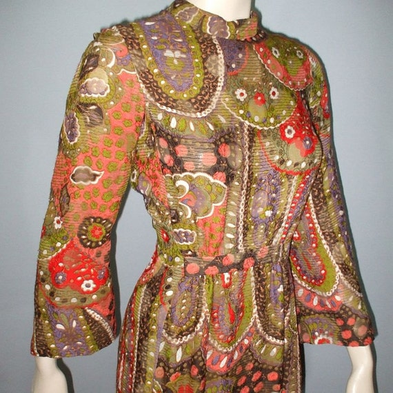 Vintage 70s Dress / 1970s Pauline Trigere Designer Dress /  Boho Dress / M L