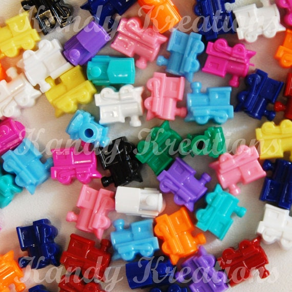10 Train Shaped Pony Beads for Kandi Raver Kandy Dummy Clips Novelty Kids Crafts Bracelets mexican train domino game replacement pieces