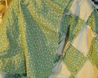 Soft Flannel Rag Quilt in Cream and Sage Blocks