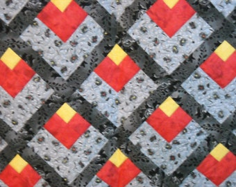 Log Cabin Style Quilt with Flame block in Gray, Yellow, Red & Black