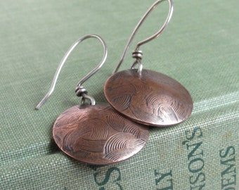 Embossed Copper Earrings -- Small Circlets with Patina Finish