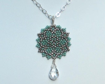Beadwoven Single Mandala Necklace / Clear Cubic Zirconia Drop / Sterling Silver Chain/ Pure/ Simple/ Bridal Gift/ Versatile  - - - Clarissa