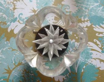 Lucite brooch 1940s art deco pin reverse carved vintage gem