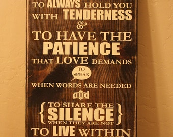 I Vow To Help You Love Life  - Romantic Wedding Newlywed Wood Sign Quote Saying Distressed