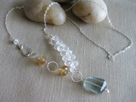 Asymmetrical Gemstone Necklace Green Fluorite Citrine Rainbow Moonstone Sterling Silver - A Day at the Beach