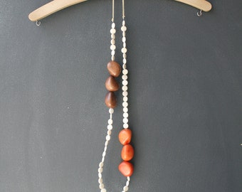 Eco Tagua Long Necklace. Brown, Off-White, Orange.