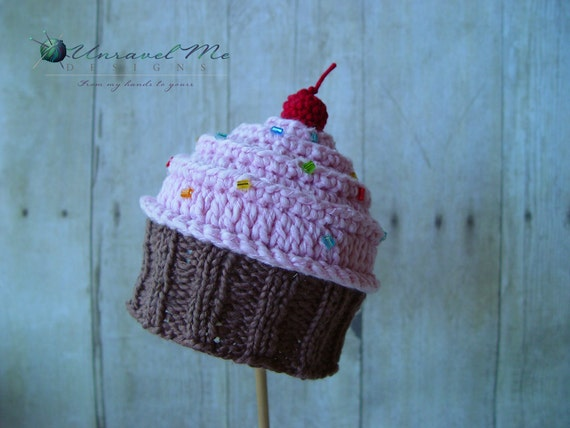 Free Crochet Cupcake Hat Pattern For Baby Knitting Pattern Baby