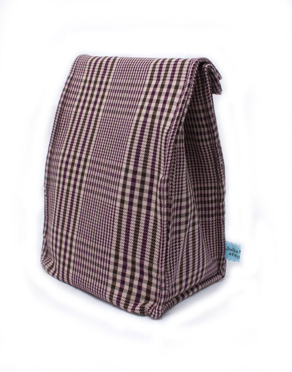 Insulated Purple Plaid Lunch Bag