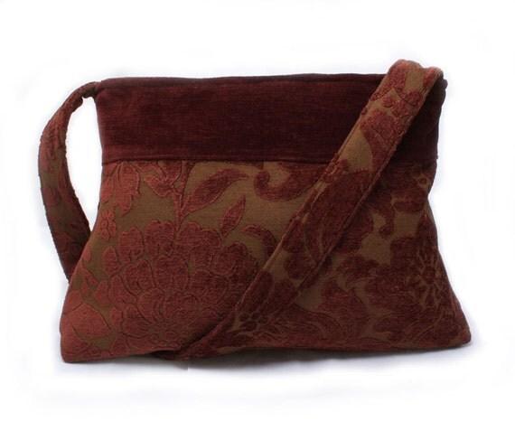 RESERVED Purse in Burgundy Velvet Fall Fashion Shoulder Bag