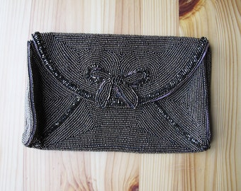 50's Bronze Brown Beaded Bow Evening Bag Clutch