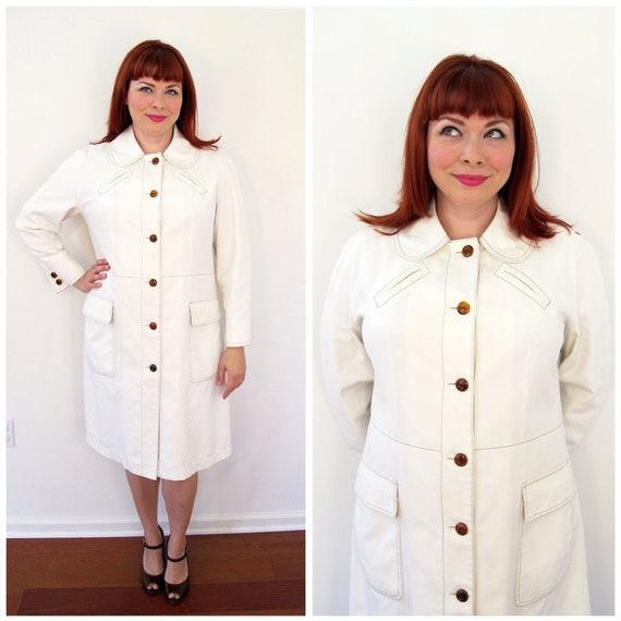 60s Misty Harbor Cream Peter Pan Collar Cotton Twill Coat, Size Large to XL