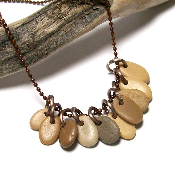 """Strand of Small Pebbles, Beach Stones, River Rocks - Plus FREE Earring Pair Jewelry Beads - """"Butter Pecan"""" original by StoneMe"""