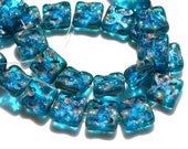 Peacock Blue Pebbled Square 10mm Beads   10