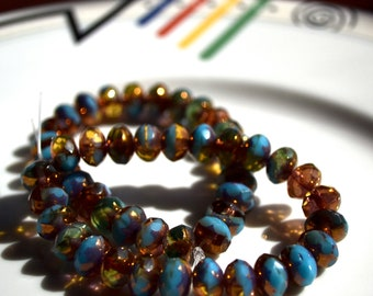Turquoise Blue, Copper and Amber 8x6mm Faceted Czech Glass Rondelles  25