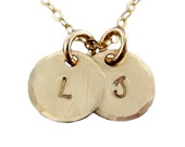 Itty Bitty Gold Filled Two Initial Charms Necklace - Hand Stamped Initial Jewelry -  3/8 inch