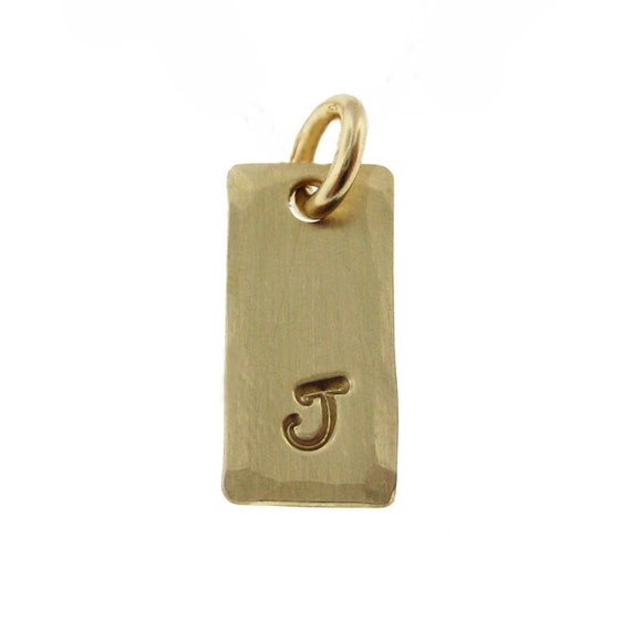 ADD a Tiny INITIAL Charm - 1/4 inch by 1/2 inch Rectangle 14k Gold Filled Pendant