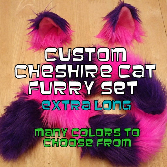 Extra Long ChESHIRE CaT CoSTUME - Halloween Costume - CuStom CoLor Cheshire Cat Ears and Cheshire Cat Tail