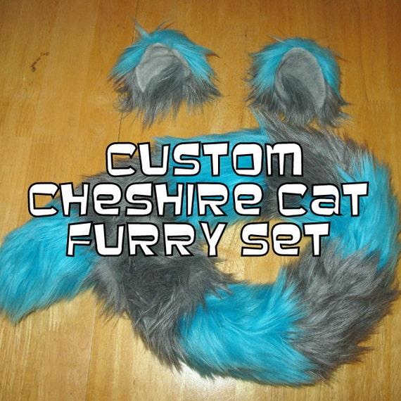 Custom Cheshire Cat Ears and Tail Set Tim Burton Style cosplay, anime, nekomimi