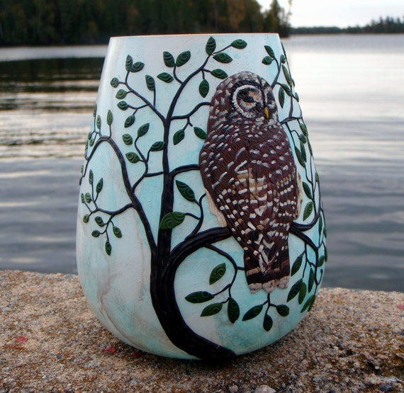 Barred Owl on Robin's Egg Blue Recycled Glass Art Vase