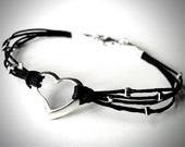 Heart bracelet sterling silver heart bracelet anniversary bridesmaids gift friendship bracelet valentines ready to ship jewelry