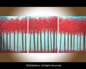 """48"""" Original Abstract Painting Heavy Texture Impasto Trees Wall Décor """"Crimson Forest"""" by QIQIGALLERY"""