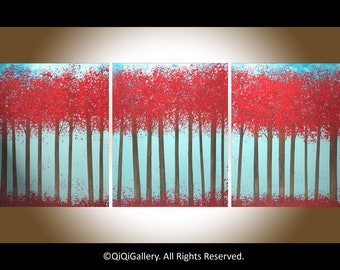 "Colorful Abstract Painting set of 3 oil painting landscape painting wall art wall decor impasto canvas art7""Crimson Forest"" by QIQIGALLERY"