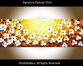"Abstract White flowers art acrylic Painting Heavy Texture Impasto Palettle Knife Wall Art wall decor ""Sunset Flowers"" by QIQIGALLERY"