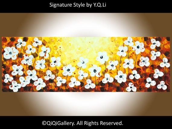 """Abstract White flowers art acrylic Painting Heavy Texture Impasto Palettle Knife Wall Art wall decor """"Sunset Flowers"""" by QIQIGALLERY"""