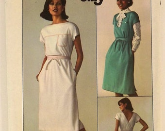 Vintage 70s Sewing Pattern, Misses' Jiffy Back Wrap Dress, Size Small