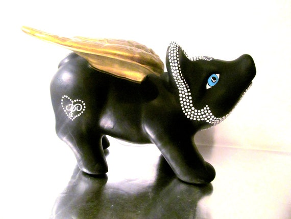 Piggy Bank Flying Pig Piggy Bank Black With By