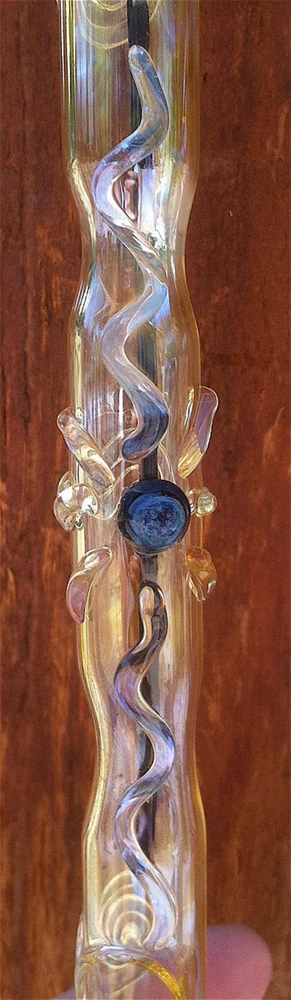 Hanging Glass Incense Burner with Sunburst Symbol C