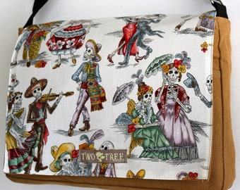 TAN and White Day Of The Dead Print Calacas MESSENGER Book Laptop Diaper BAG