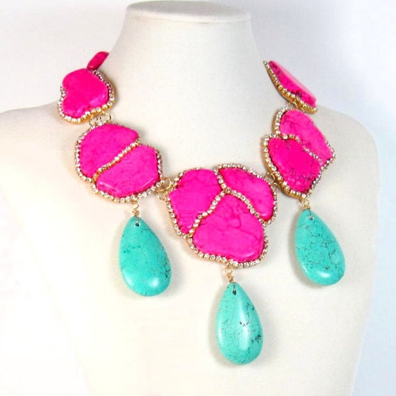 statement necklace pink and green turquoise by ezzaexclusive