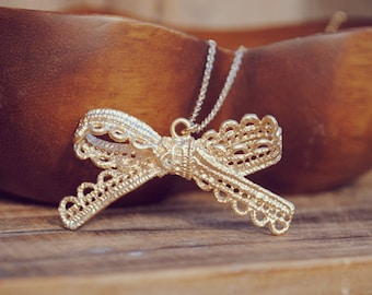 yeahhello. gold lace ribbon bow necklace