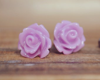 purple parade rose flower earrings by yeahhello