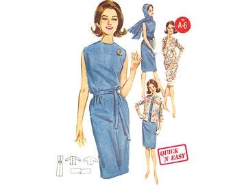 Vintage 60s Sheath Dress Sewing Pattern Matching Jacket Scarf Uncut Pattern size 14 Medium Bust 34 Butterick 2660 Quick Easy Pattern