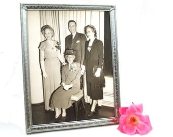 Vintage 1950s Framed Photo Wedding Family with Granny Silver Metal