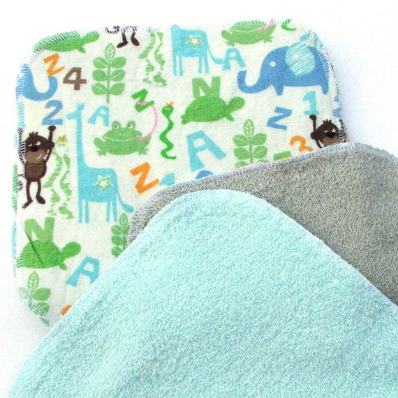Baby Cloth Wipes 8 by 8 inch Serged Cloth Wipes/Washcloths - Jungle Alphabet - Flannel/Baby Terry- set of 5