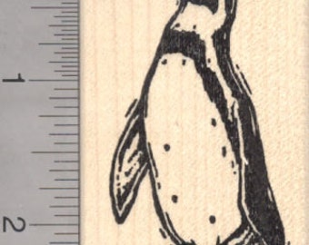 Penguin Woodcut Rubber Stamp H18211- Wood Mounted